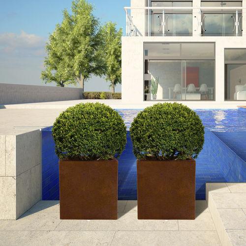 jardinière en acier COR-TEN® / en fibre de verre / carrée / contemporaine