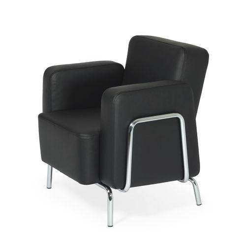fauteuil contemporain / en chrome / en tissu / en cuir