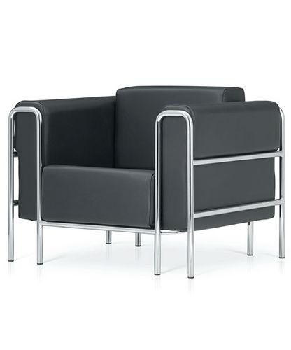 fauteuil visiteur contemporain / en chrome / en cuir