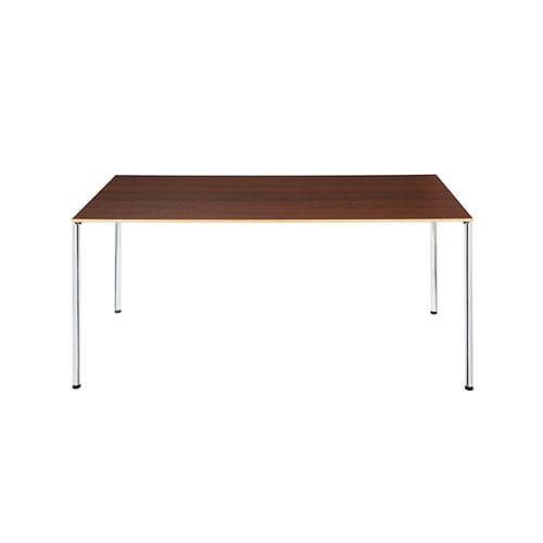 table de réunion contemporaine / agglomérée / en métal chromé / rectangulaire