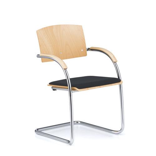 chaise de conférence contemporaine / empilable / cantilever / avec accoudoirs