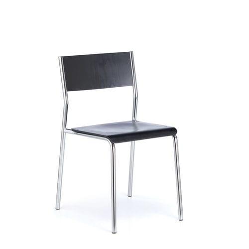 chaise visiteur design Bauhaus / empilable / tapissée / en acier