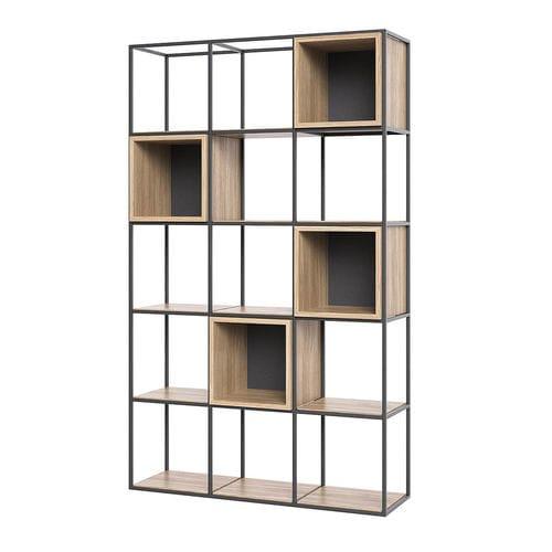 étagère contemporaine / en chêne / en acier