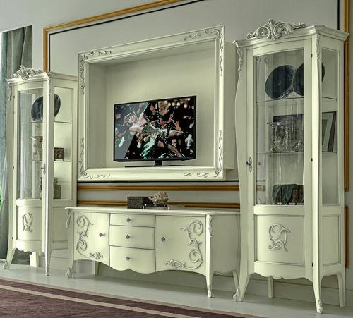 ensemble TV mural de style / en bois massif / en verre