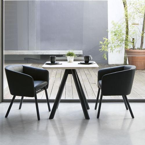 Chaise contemporaine / en tissu / en hêtre / avec accoudoirs BALU' by Emilio Nanni Traba'