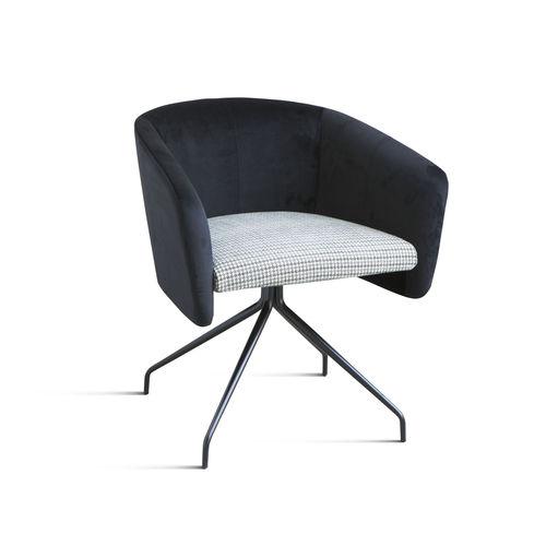 chaise de bureau contemporaine / pivotante / en tissu / en chrome