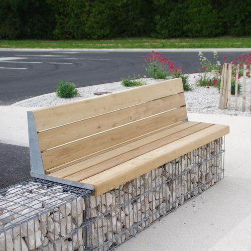 Banc public / de jardin / contemporain / en bois massif MOBILIER EVOL ID GABION - L'AGENCE URBAINE