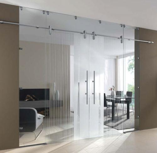 Porte double vantaux / d\'intérieur / coulissante / en verre ...