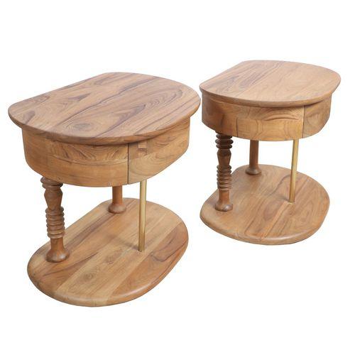 table de chevet classique / en teck / en laiton / ovale