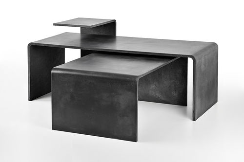 Table basse contemporaine / en béton / rectangulaire / grise TRIO SET Gravelli