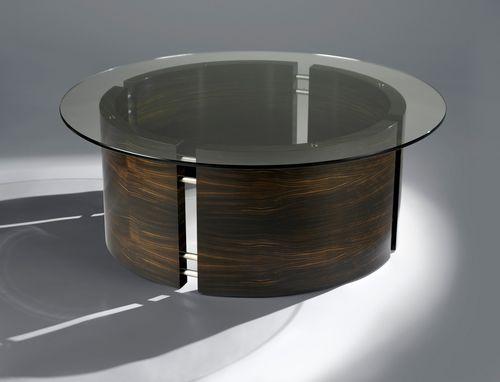 Table basse contemporaine / en ébène de macassar / en verre / en acier inoxydable LE CHIC David Tragen