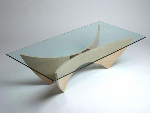 Table basse contemporaine / en érable / en verre / rectangulaire PEGASUS  David Tragen