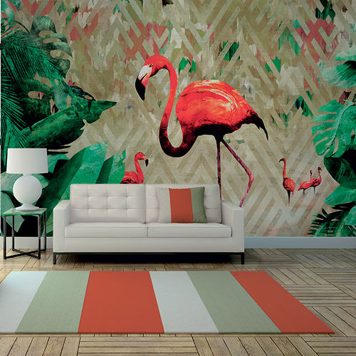Papiers peints contemporains / en tissu / en vinyle / motifs animaliers FLAMINGO BAY Skinwall