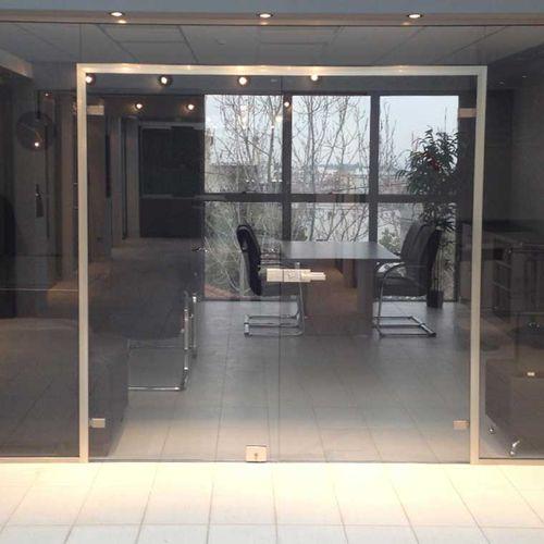 porte d'intérieur / battante / en verre / en aluminium