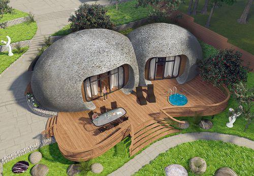 maison type bungalow / design original / en béton / écologique