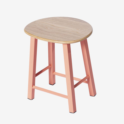tabouret de travail en acier chromé / en bois / avec repose-pieds / rouge