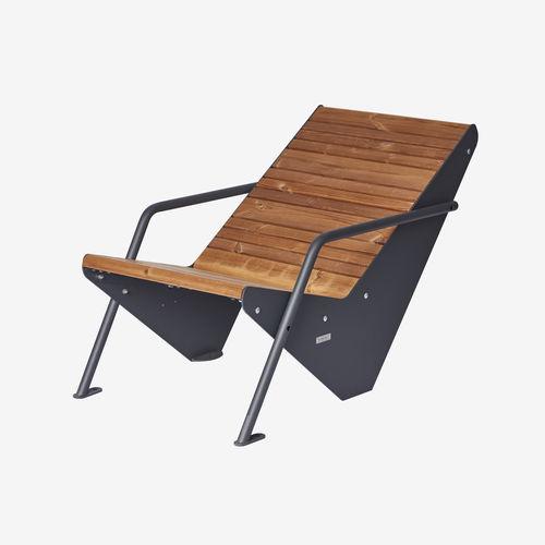 fauteuil contemporain / en bois / en acier à revêtement par poudre / avec accoudoirs