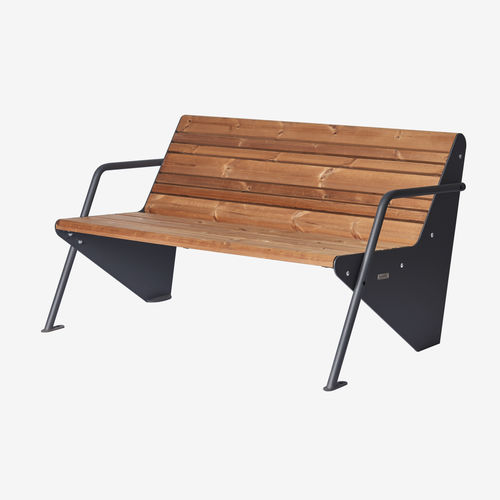 banc public / contemporain / en acier à revêtement par poudre / en bois peint