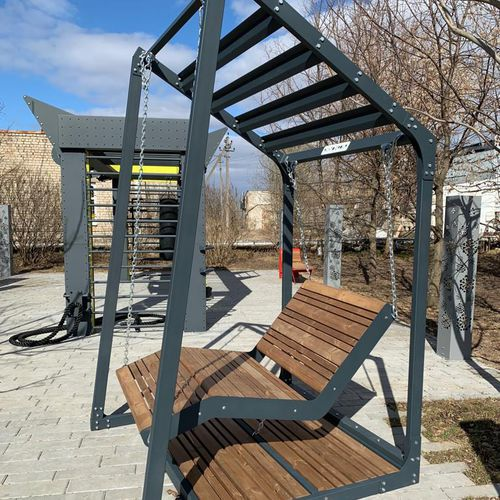 banc public / contemporain / en acier galvanisé / en bois huilé