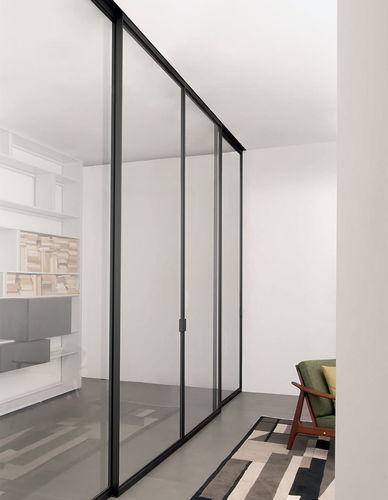 porte d'intérieur / coulissante / en aluminium / vitrée