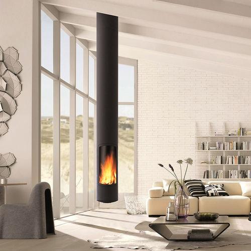 cheminée à bois / contemporaine / à foyer fermé / centrale