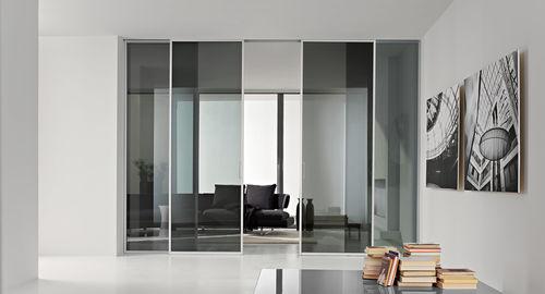 porte d'intérieur / coulissante / en aluminium / toute hauteur