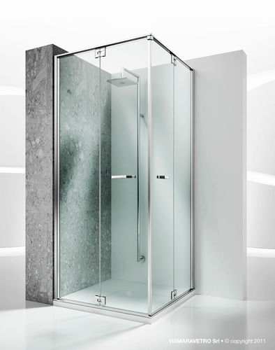 Cabine De Douche En Verre  DAngle  Avec Porte Pliante  Replay