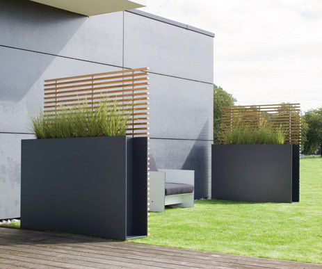 Jardinière en acier inoxydable / carrée / contemporaine / avec ...