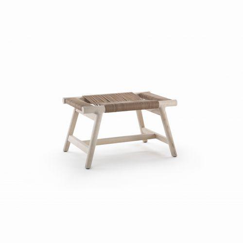 table d'appoint contemporaine / en cuir / en bois massif / rectangulaire