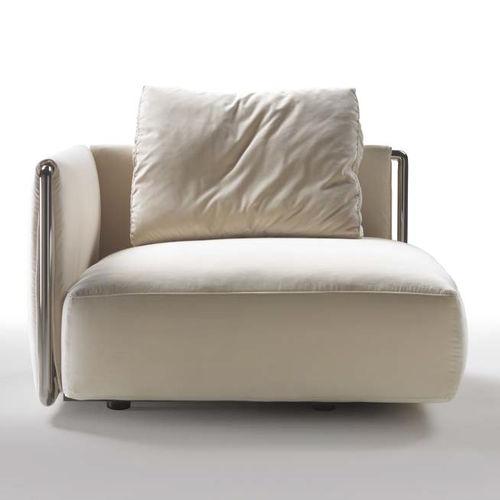 fauteuil contemporain / en tissu / en cuir / avec revêtement amovible