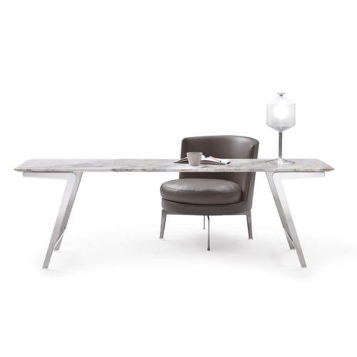 table contemporaine / en métal / en marbre / en bois massif