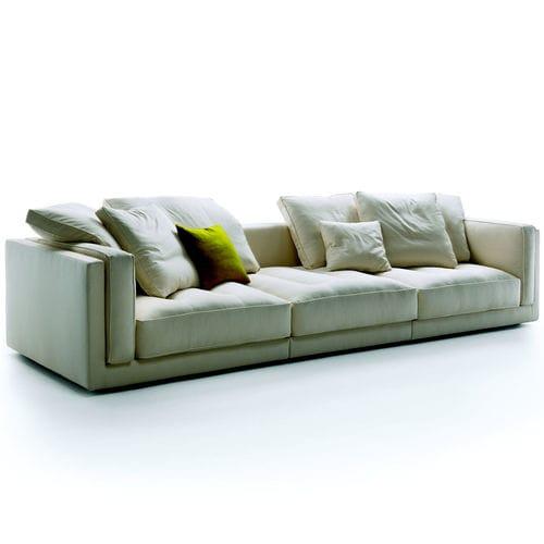 canapé contemporain / en tissu / en cuir / 3 places