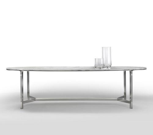 table à manger contemporaine / en métal / en marbre / ovale