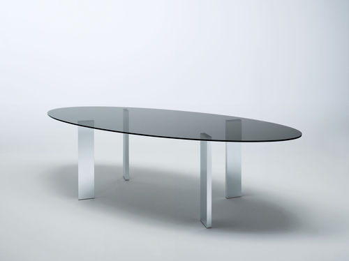 table contemporaine / en noyer / en verre trempé / en aluminium