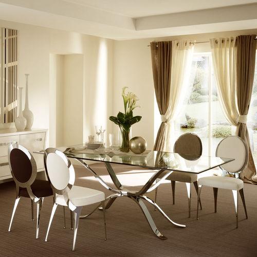 table contemporaine / en verre / en fer / rectangulaire