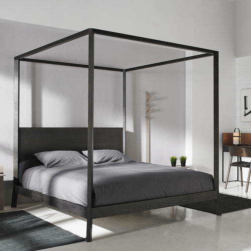 lit à baldaquin / double / contemporain / en bois