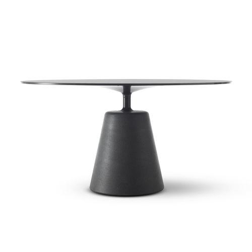 table à manger contemporaine / en verre trempé / en ciment / ronde