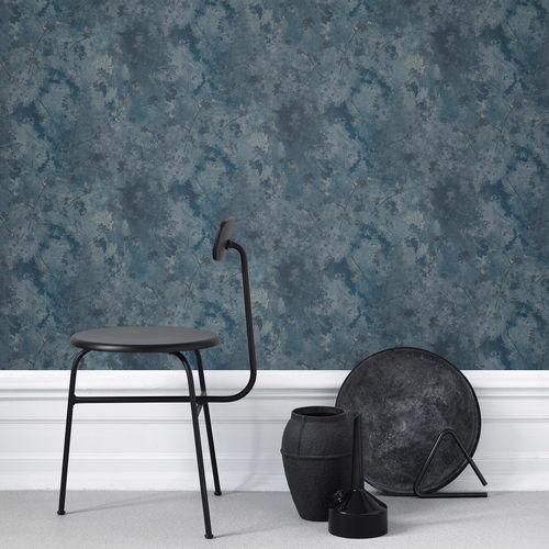 Papier peint classique / motif floral / gris / bleu - HEIDI by ...