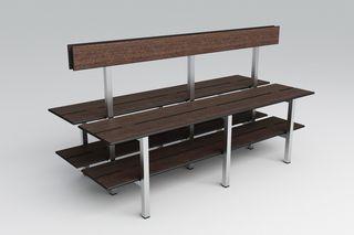 banc de vestiaire / contemporain / en acier inoxydable / en HPL
