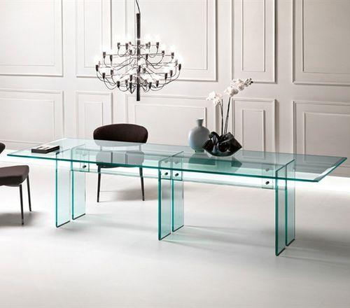 table à manger contemporaine / en verre / en acier inoxydable / rectangulaire