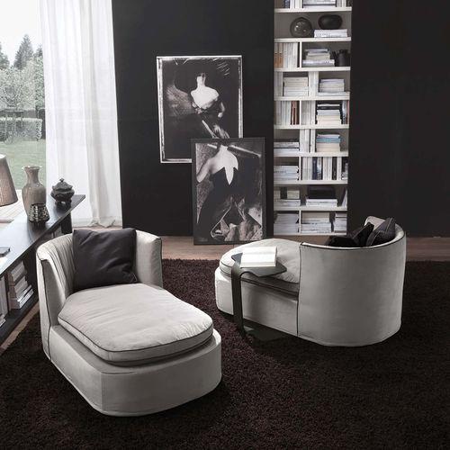 chaise longue contemporaine / en tissu / en cuir