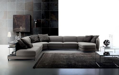 canapé modulable / d'angle / contemporain / en cuir