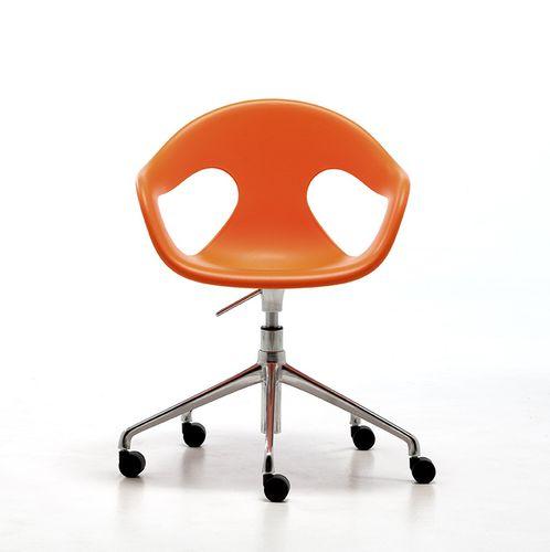 chaise visiteur contemporaine / avec accoudoirs / à roulettes / piètement étoile