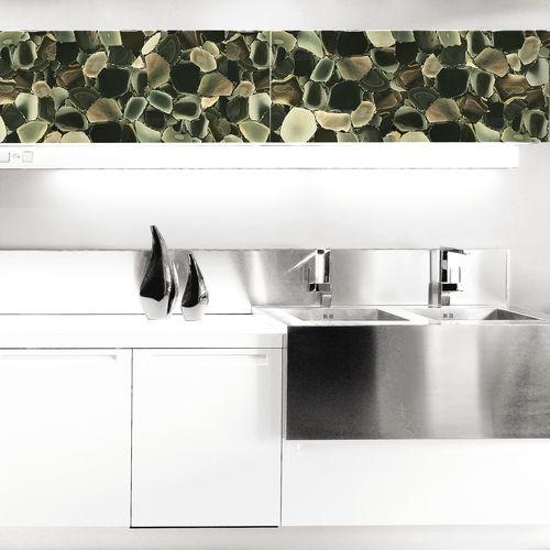 panneau décoratif en Solid Surface / en pierre semi-précieuse / en bois massif / mural