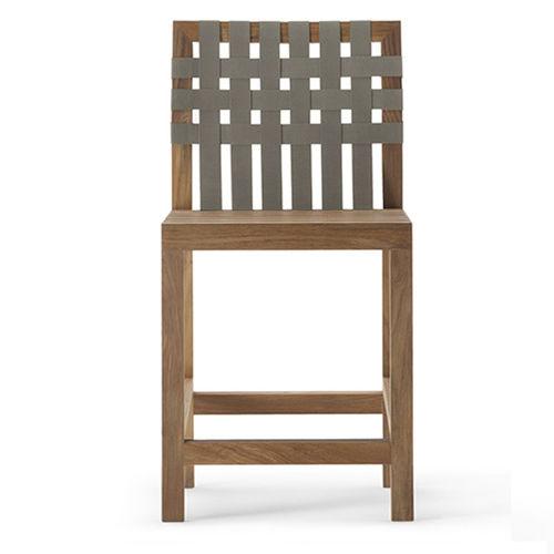 chaise de bar contemporaine / avec repose-pieds / en teck / en polyester