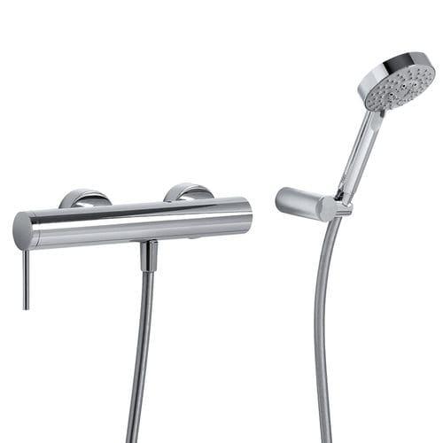 mitigeur de douche / mural / en métal chromé / 3 trous
