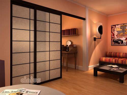 porte d'intérieur / coulissante / en bois / vitrée