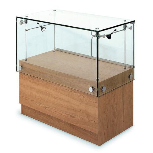 vitrine contemporaine / en verre / en chêne / éclairée