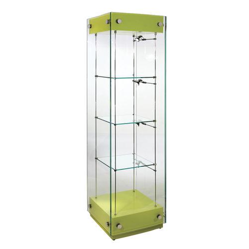 vitrine contemporaine / en verre / éclairée / professionnelle