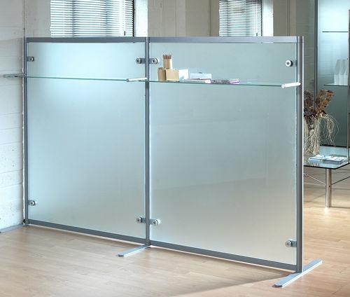 séparateur de bureau au sol / en verre / modulable